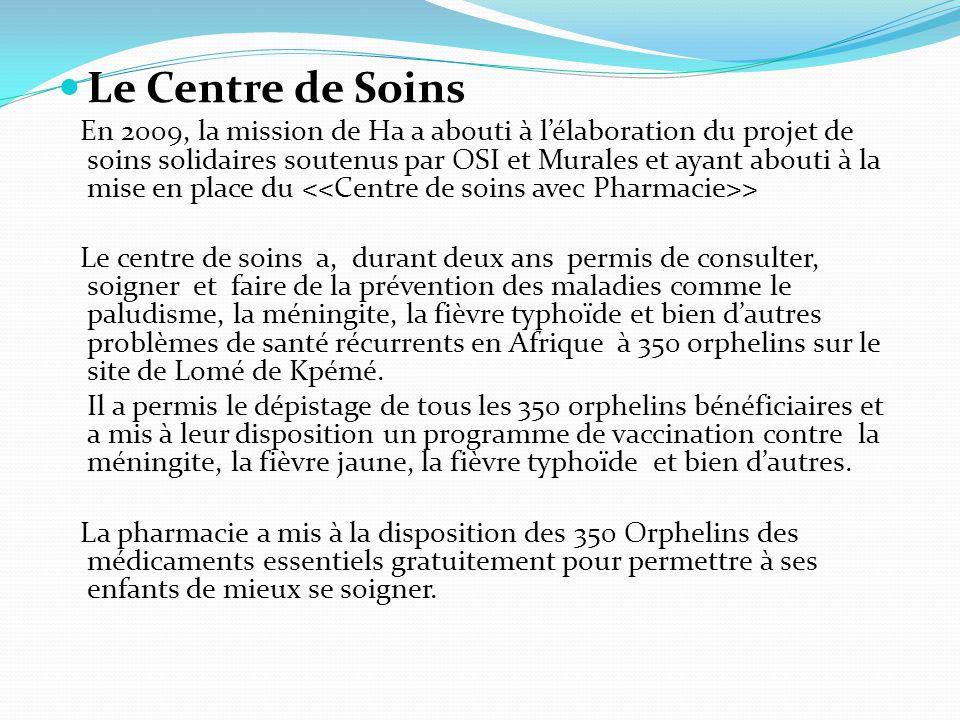 Le Centre de Soins En 2009, la mission de Ha a abouti à l'élaboration du projet de soins solidaires soutenus par OSI et Murales et ayant abouti à la mise en place du > Le centre de soins a, durant deux ans permis de consulter, soigner et faire de la prévention des maladies comme le paludisme, la méningite, la fièvre typhoïde et bien d'autres problèmes de santé récurrents en Afrique à 350 orphelins sur le site de Lomé de Kpémé.
