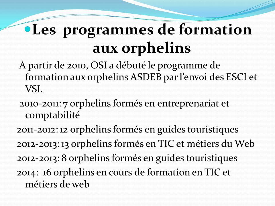 Les programmes de formation aux orphelins A partir de 2010, OSI a débuté le programme de formation aux orphelins ASDEB par l'envoi des ESCI et VSI.