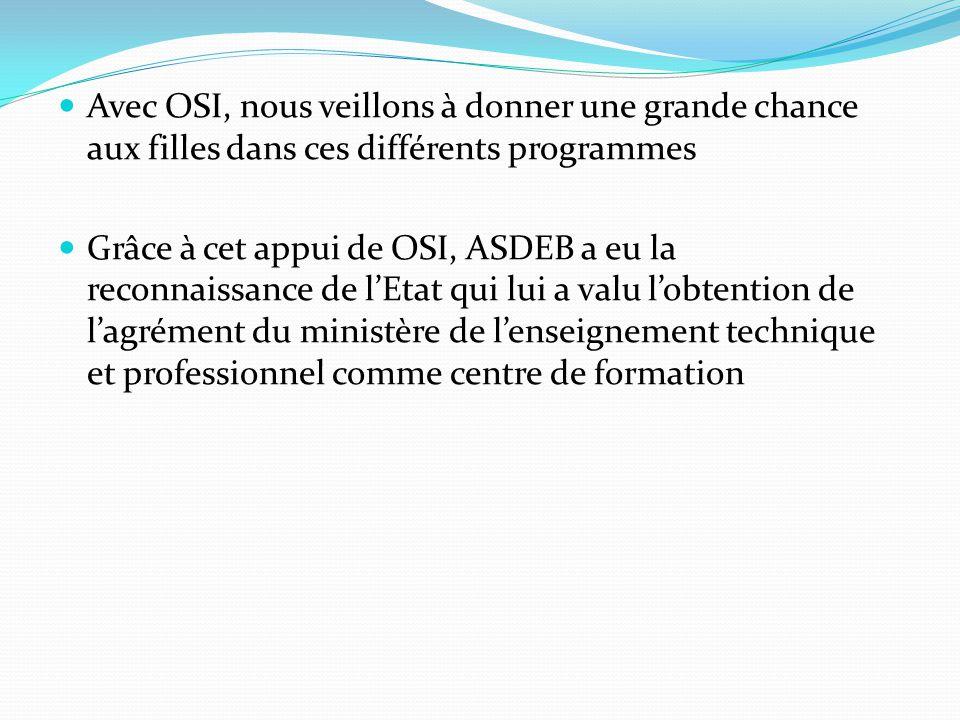 Avec OSI, nous veillons à donner une grande chance aux filles dans ces différents programmes Grâce à cet appui de OSI, ASDEB a eu la reconnaissance de l'Etat qui lui a valu l'obtention de l'agrément du ministère de l'enseignement technique et professionnel comme centre de formation