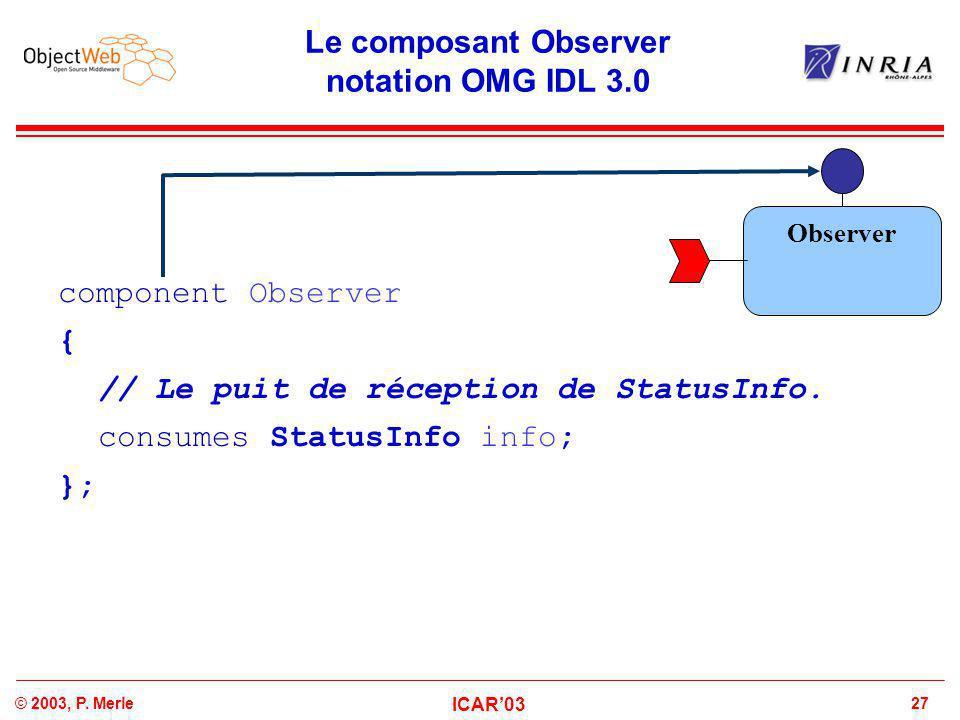 27© 2003, P. Merle ICAR'03 Le composant Observer notation OMG IDL 3.0 component Observer { // Le puit de réception de StatusInfo. consumes StatusInfo