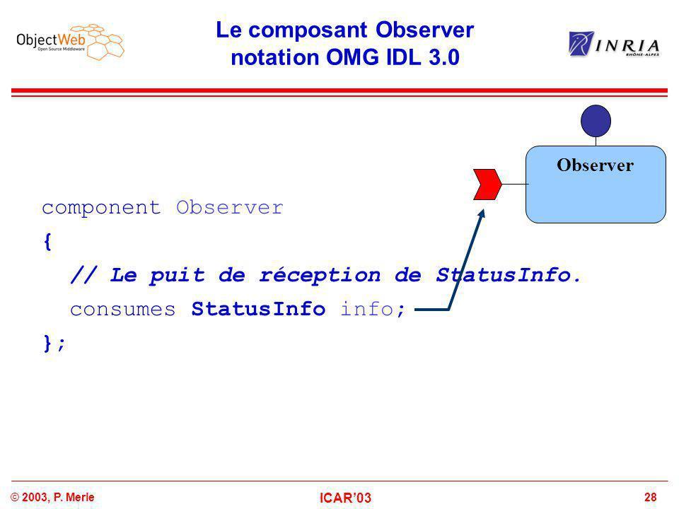 28© 2003, P. Merle ICAR'03 Le composant Observer notation OMG IDL 3.0 component Observer { // Le puit de réception de StatusInfo. consumes StatusInfo