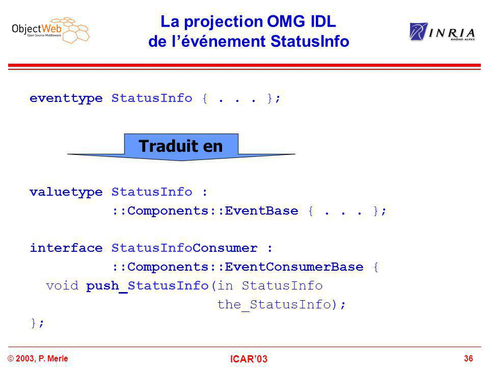36© 2003, P. Merle ICAR'03 La projection OMG IDL de l'événement StatusInfo eventtype StatusInfo {... }; valuetype StatusInfo : ::Components::EventBase