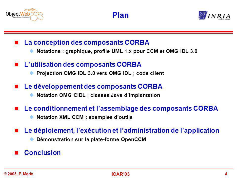 4© 2003, P. Merle ICAR'03 Plan La conception des composants CORBA  Notations : graphique, profile UML 1.x pour CCM et OMG IDL 3.0 L'utilisation des c