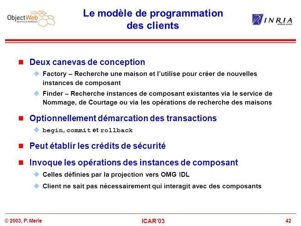 42© 2003, P. Merle ICAR'03 Le modèle de programmation des clients Deux canevas de conception  Factory – Recherche une maison et l'utilise pour créer
