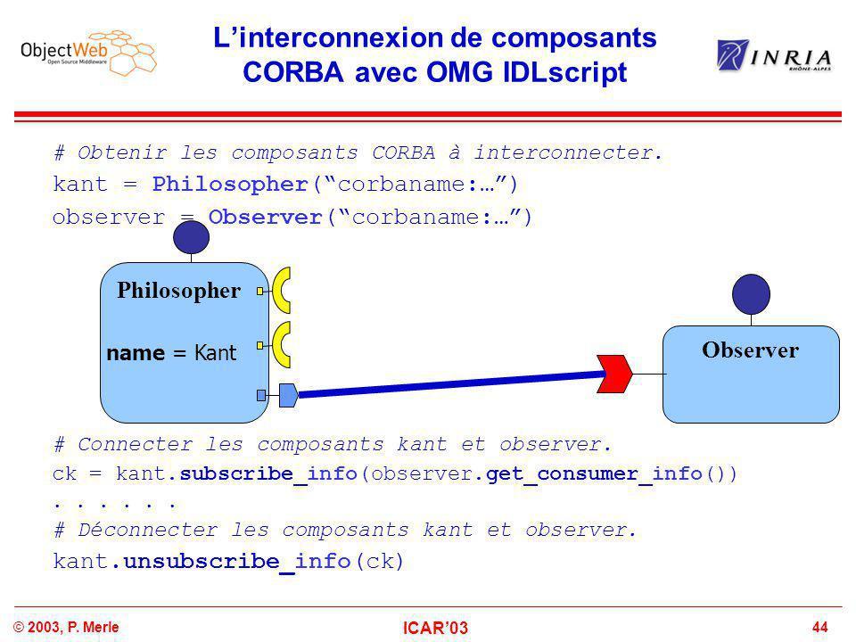 44© 2003, P. Merle ICAR'03 L'interconnexion de composants CORBA avec OMG IDLscript # Obtenir les composants CORBA à interconnecter. kant = Philosopher