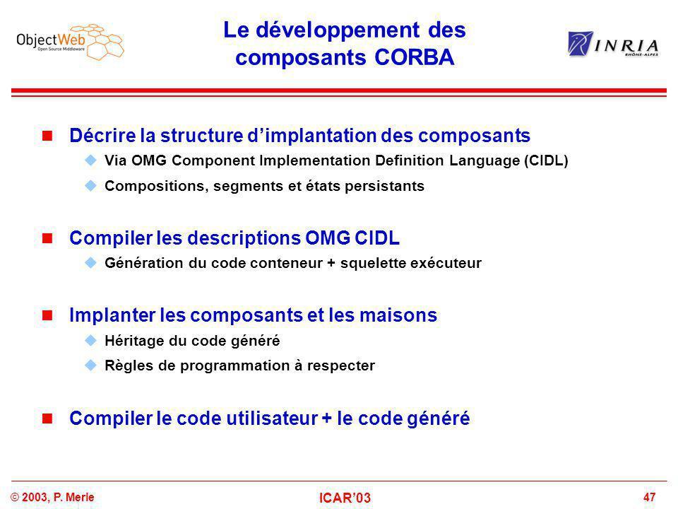 47© 2003, P. Merle ICAR'03 Le développement des composants CORBA Décrire la structure d'implantation des composants  Via OMG Component Implementation