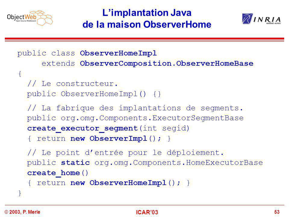 53© 2003, P. Merle ICAR'03 L'implantation Java de la maison ObserverHome public class ObserverHomeImpl extends ObserverComposition.ObserverHomeBase {