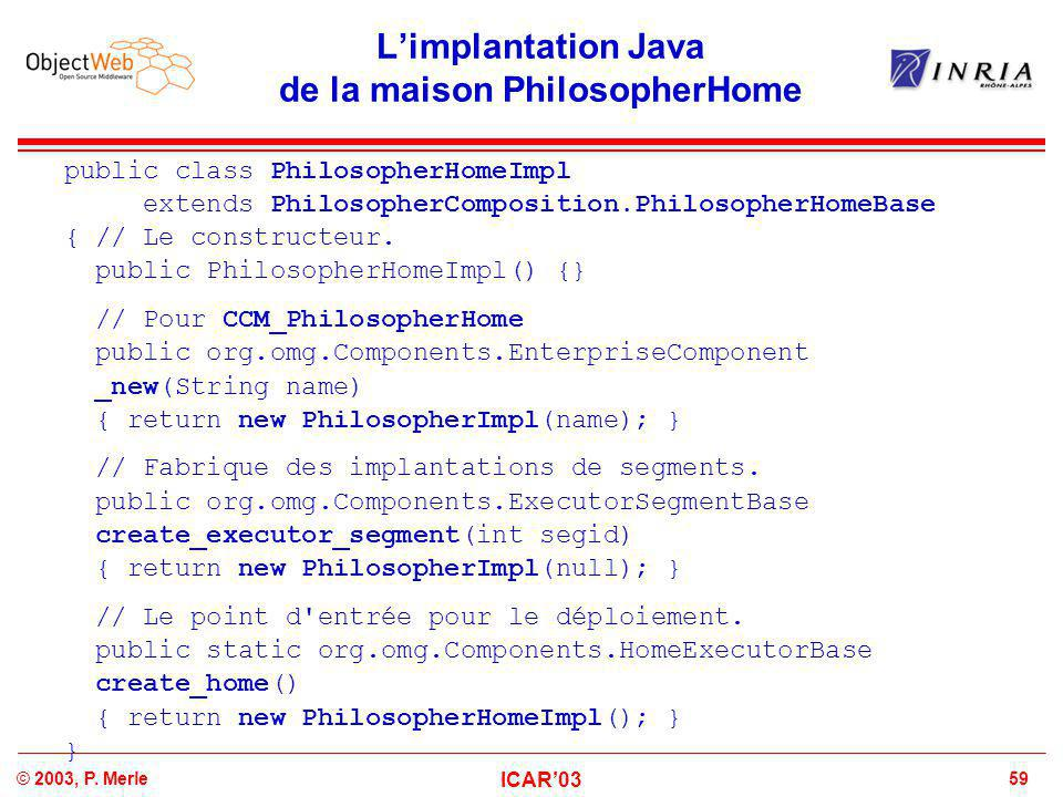 59© 2003, P. Merle ICAR'03 L'implantation Java de la maison PhilosopherHome public class PhilosopherHomeImpl extends PhilosopherComposition.Philosophe