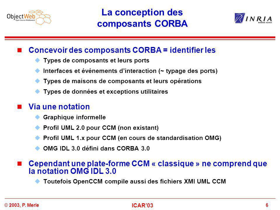 6© 2003, P. Merle ICAR'03 La conception des composants CORBA Concevoir des composants CORBA = identifier les  Types de composants et leurs ports  In