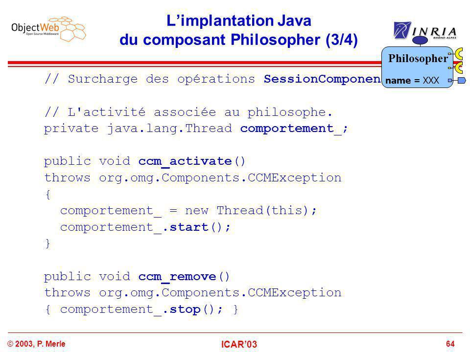 64© 2003, P. Merle ICAR'03 L'implantation Java du composant Philosopher (3/4) // Surcharge des opérations SessionComponent. // L'activité associée au