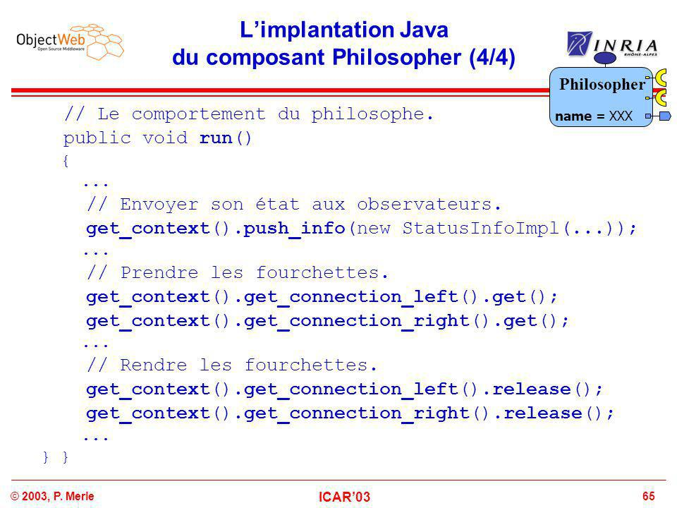 65© 2003, P. Merle ICAR'03 L'implantation Java du composant Philosopher (4/4) // Le comportement du philosophe. public void run() {... // Envoyer son