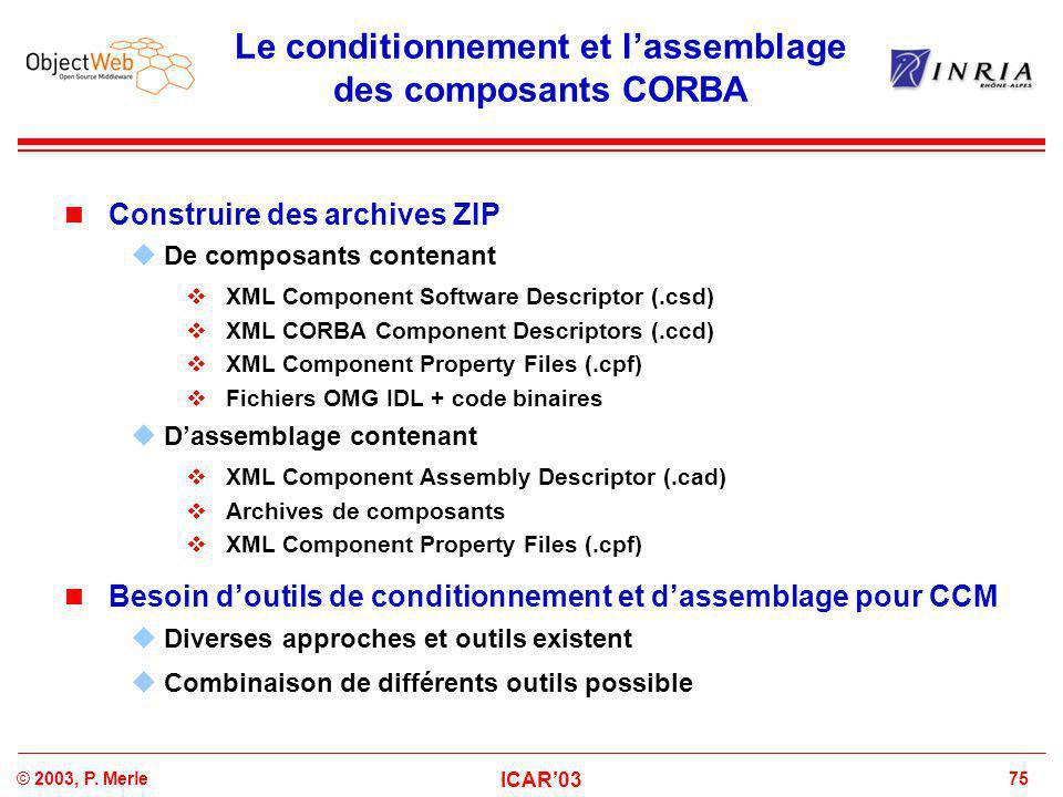 75© 2003, P. Merle ICAR'03 Le conditionnement et l'assemblage des composants CORBA Construire des archives ZIP  De composants contenant  XML Compone