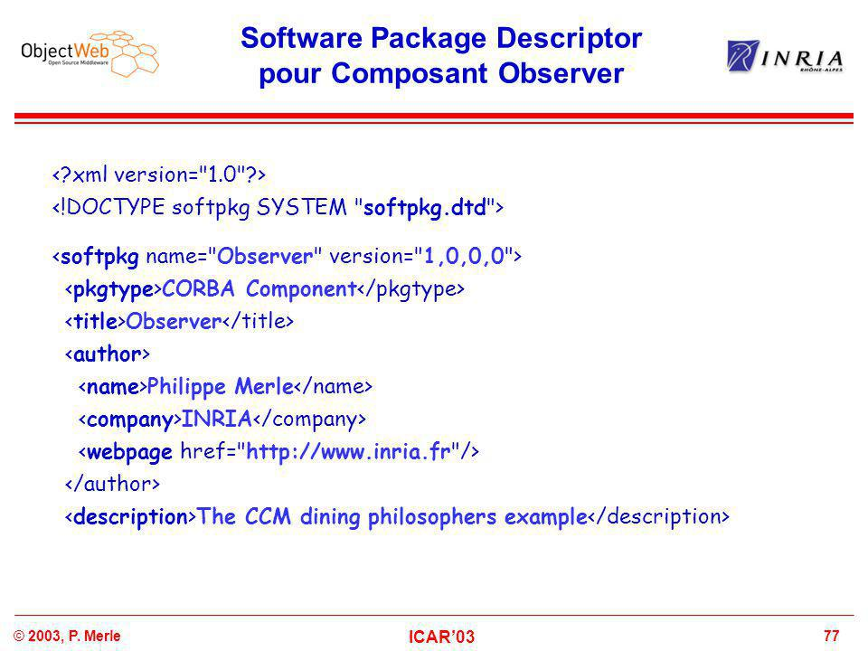 77© 2003, P. Merle ICAR'03 Software Package Descriptor pour Composant Observer CORBA Component Observer Philippe Merle INRIA The CCM dining philosophe