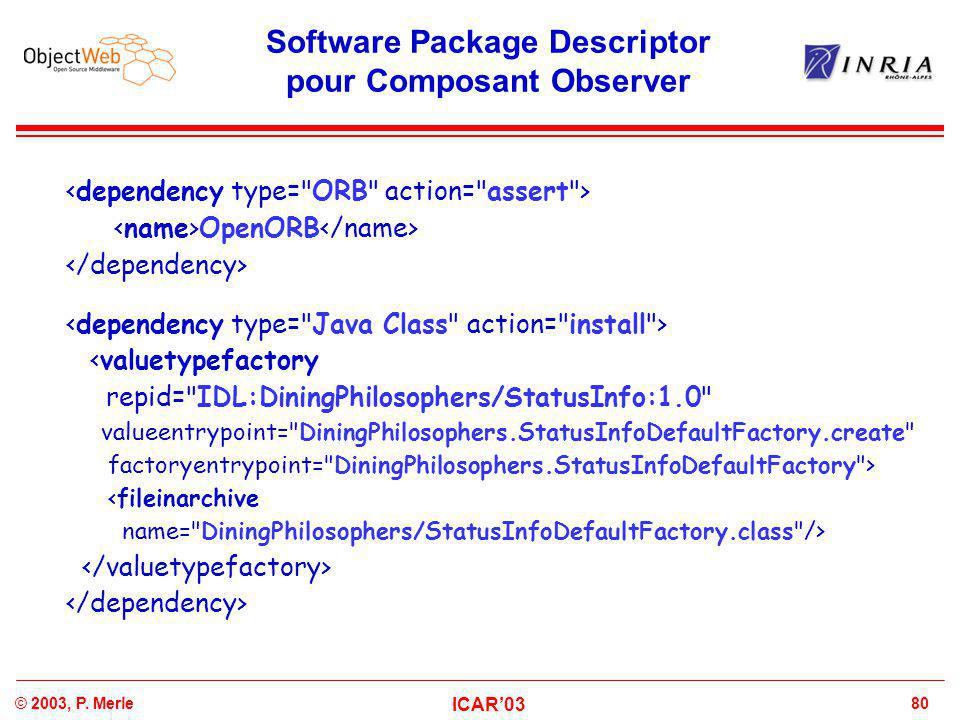 80© 2003, P. Merle ICAR'03 Software Package Descriptor pour Composant Observer OpenORB <valuetypefactory repid=