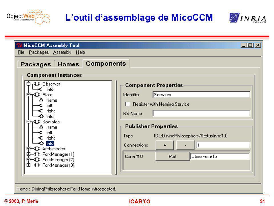 91© 2003, P. Merle ICAR'03 L'outil d'assemblage de MicoCCM