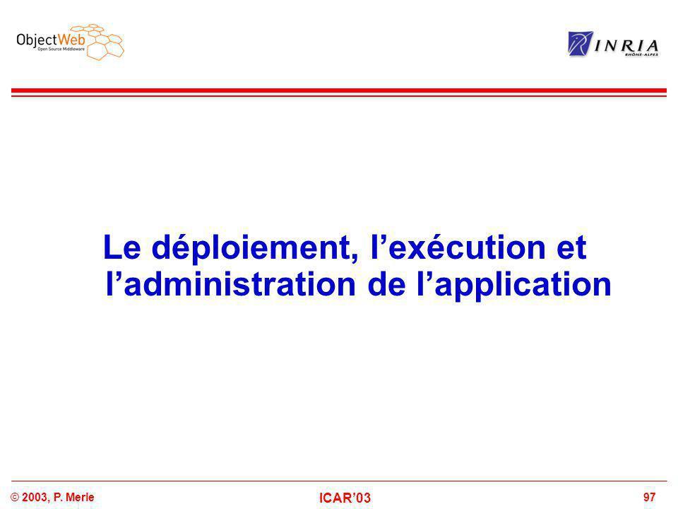 97© 2003, P. Merle ICAR'03 Le déploiement, l'exécution et l'administration de l'application
