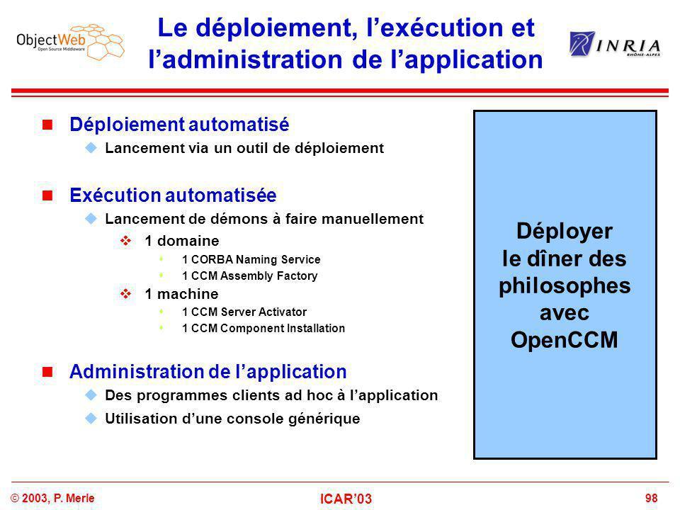 98© 2003, P. Merle ICAR'03 Le déploiement, l'exécution et l'administration de l'application Déploiement automatisé  Lancement via un outil de déploie