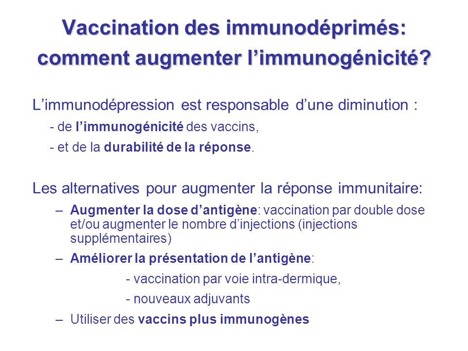 Vaccination des immunodéprimés: comment augmenter l'immunogénicité? L'immunodépression est responsable d'une diminution : - de l'immunogénicité des va