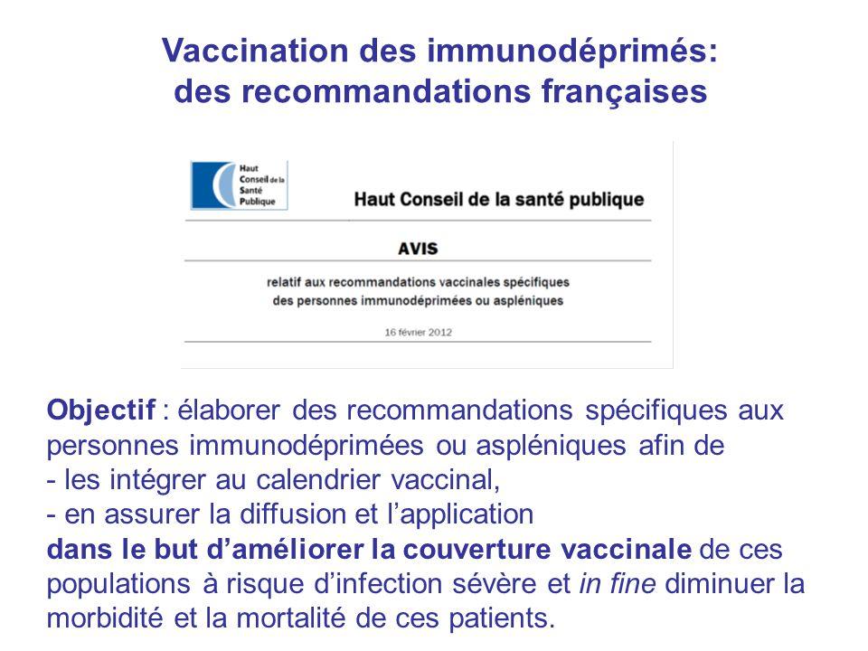 Vaccination des immunodéprimés: des recommandations françaises Objectif : élaborer des recommandations spécifiques aux personnes immunodéprimées ou as
