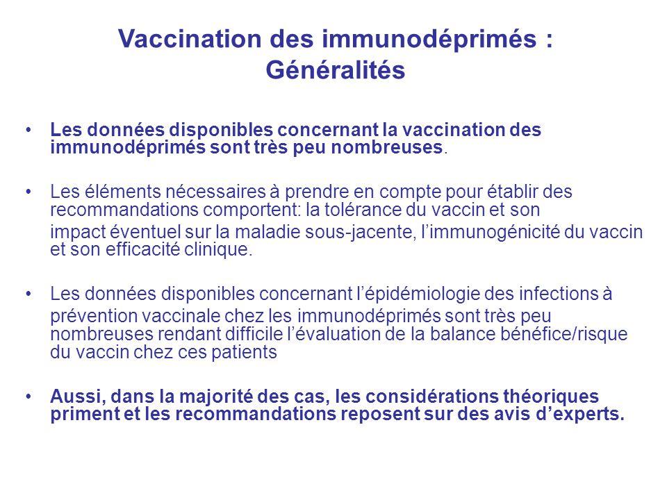 Les données disponibles concernant la vaccination des immunodéprimés sont très peu nombreuses. Les éléments nécessaires à prendre en compte pour établ