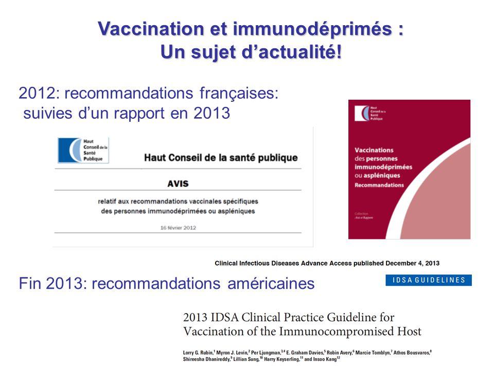 Vaccination et immunodéprimés : Un sujet d'actualité! 2012: recommandations françaises: suivies d'un rapport en 2013 Fin 2013: recommandations américa