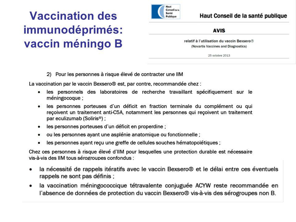 Vaccination des immunodéprimés: vaccin méningo B