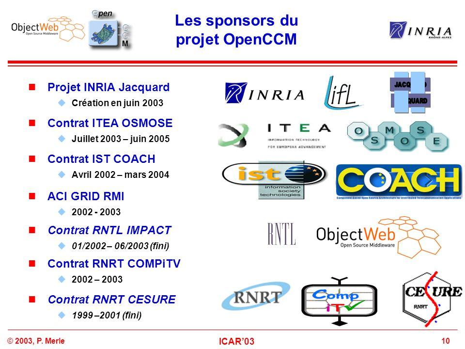 10© 2003, P. Merle ICAR'03 Les sponsors du projet OpenCCM Projet INRIA Jacquard  Création en juin 2003 Contrat ITEA OSMOSE  Juillet 2003 – juin 2005