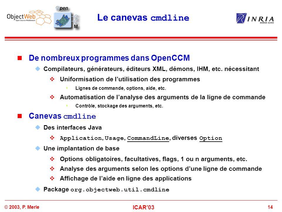14© 2003, P. Merle ICAR'03 Le canevas cmdline De nombreux programmes dans OpenCCM  Compilateurs, générateurs, éditeurs XML, démons, IHM, etc. nécessi