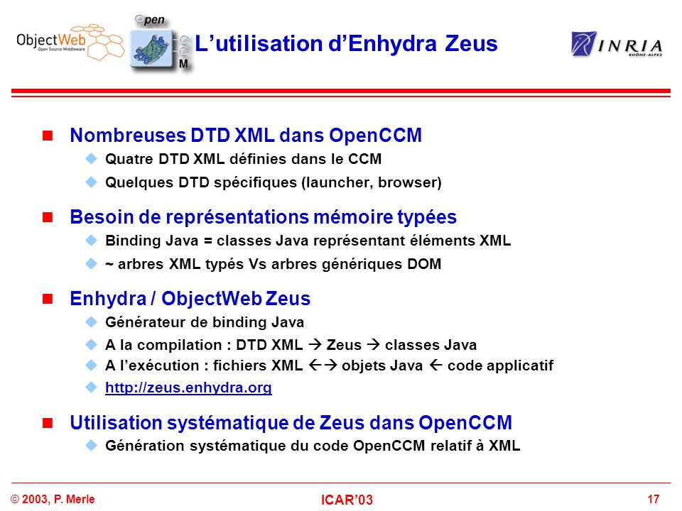 17© 2003, P. Merle ICAR'03 L'utilisation d'Enhydra Zeus Nombreuses DTD XML dans OpenCCM  Quatre DTD XML définies dans le CCM  Quelques DTD spécifiqu
