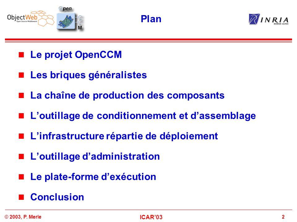 2© 2003, P. Merle ICAR'03 Plan Le projet OpenCCM Les briques généralistes La chaîne de production des composants L'outillage de conditionnement et d'a