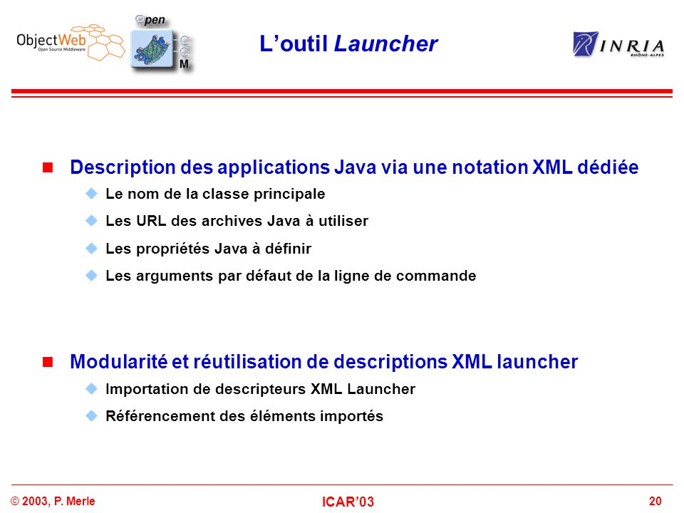 20© 2003, P. Merle ICAR'03 L'outil Launcher Description des applications Java via une notation XML dédiée  Le nom de la classe principale  Les URL d