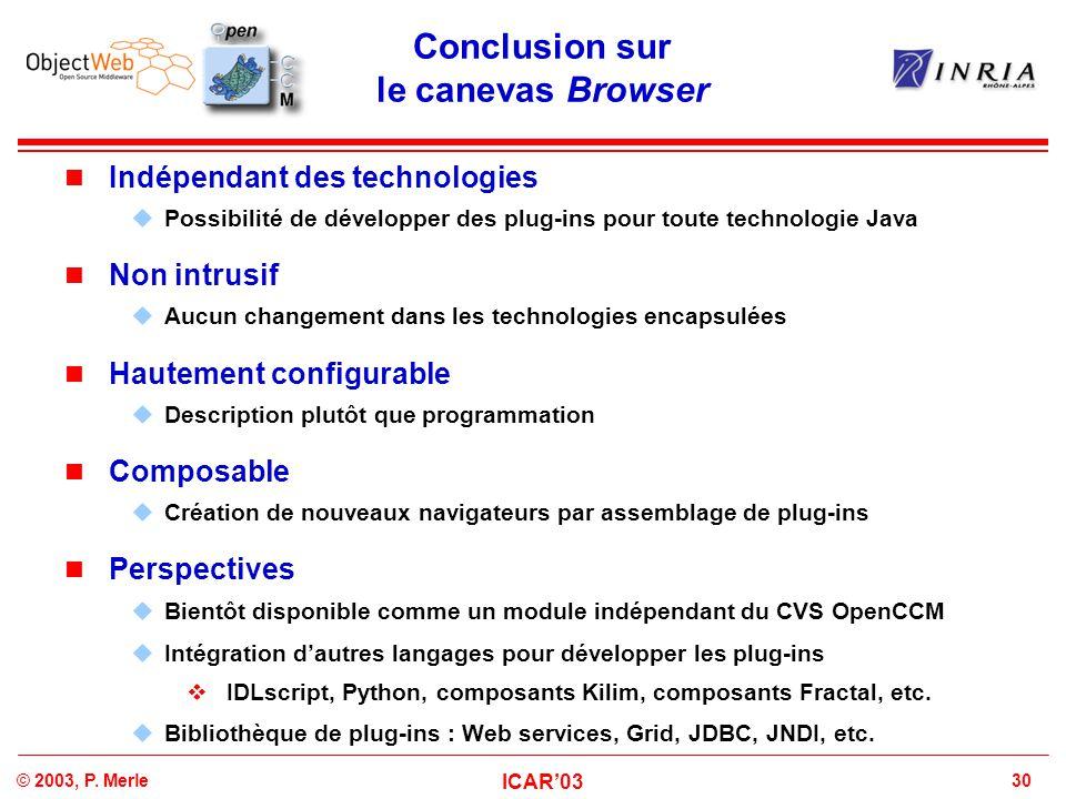30© 2003, P. Merle ICAR'03 Conclusion sur le canevas Browser Indépendant des technologies  Possibilité de développer des plug-ins pour toute technolo