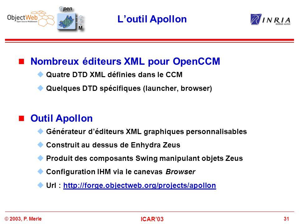 31© 2003, P. Merle ICAR'03 L'outil Apollon Nombreux éditeurs XML pour OpenCCM  Quatre DTD XML définies dans le CCM  Quelques DTD spécifiques (launch