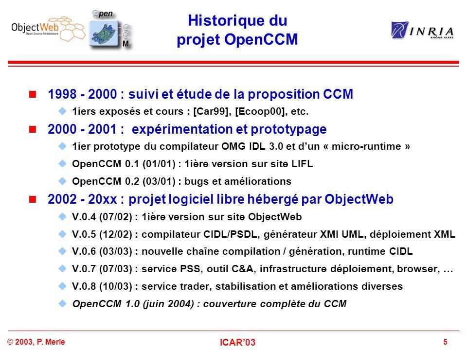 5© 2003, P. Merle ICAR'03 Historique du projet OpenCCM 1998 - 2000 : suivi et étude de la proposition CCM  1iers exposés et cours : [Car99], [Ecoop00
