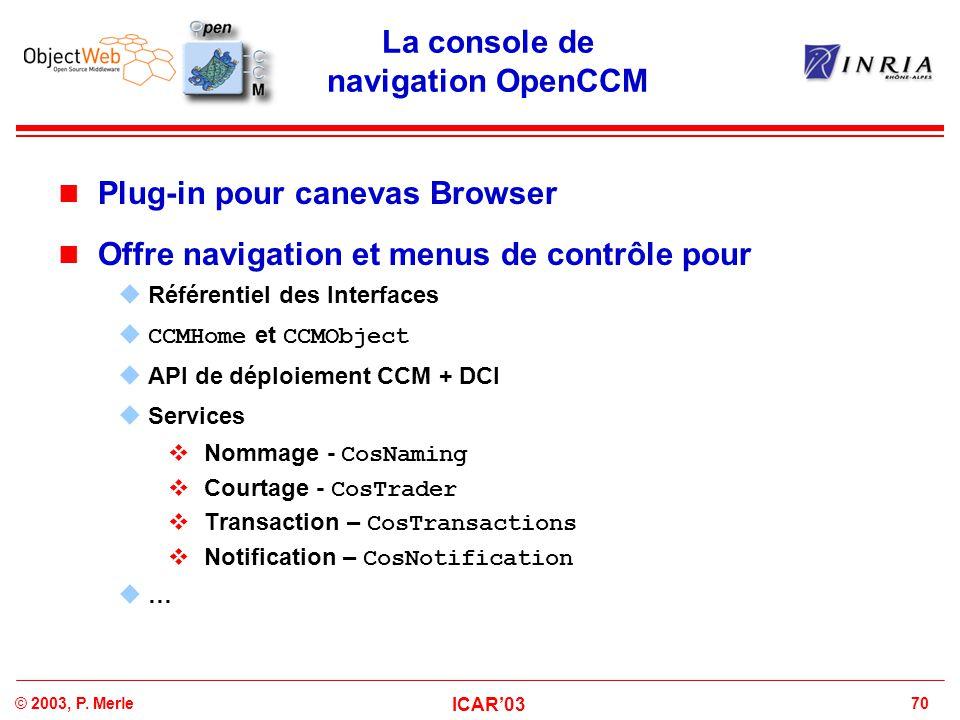 70© 2003, P. Merle ICAR'03 La console de navigation OpenCCM Plug-in pour canevas Browser Offre navigation et menus de contrôle pour  Référentiel des