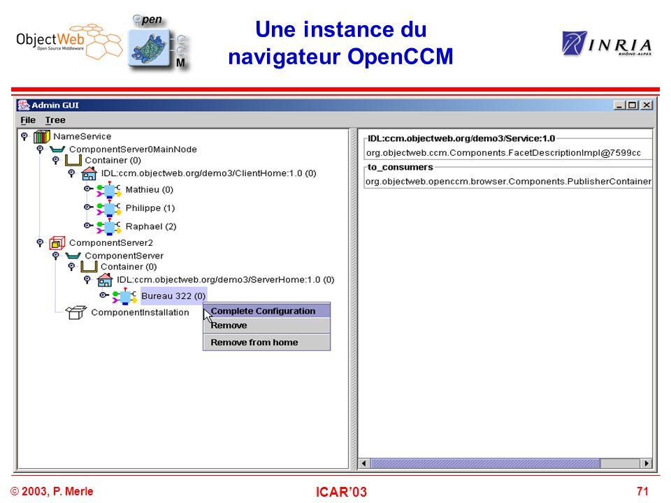 71© 2003, P. Merle ICAR'03 Une instance du navigateur OpenCCM