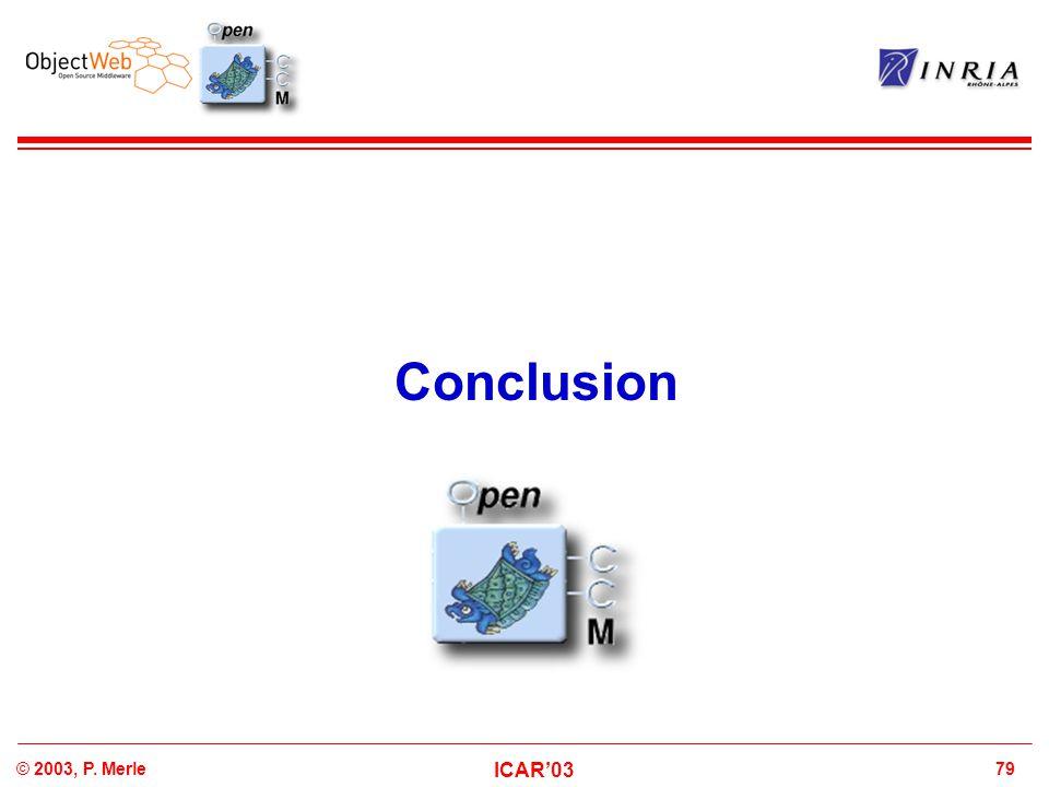 79© 2003, P. Merle ICAR'03 Conclusion