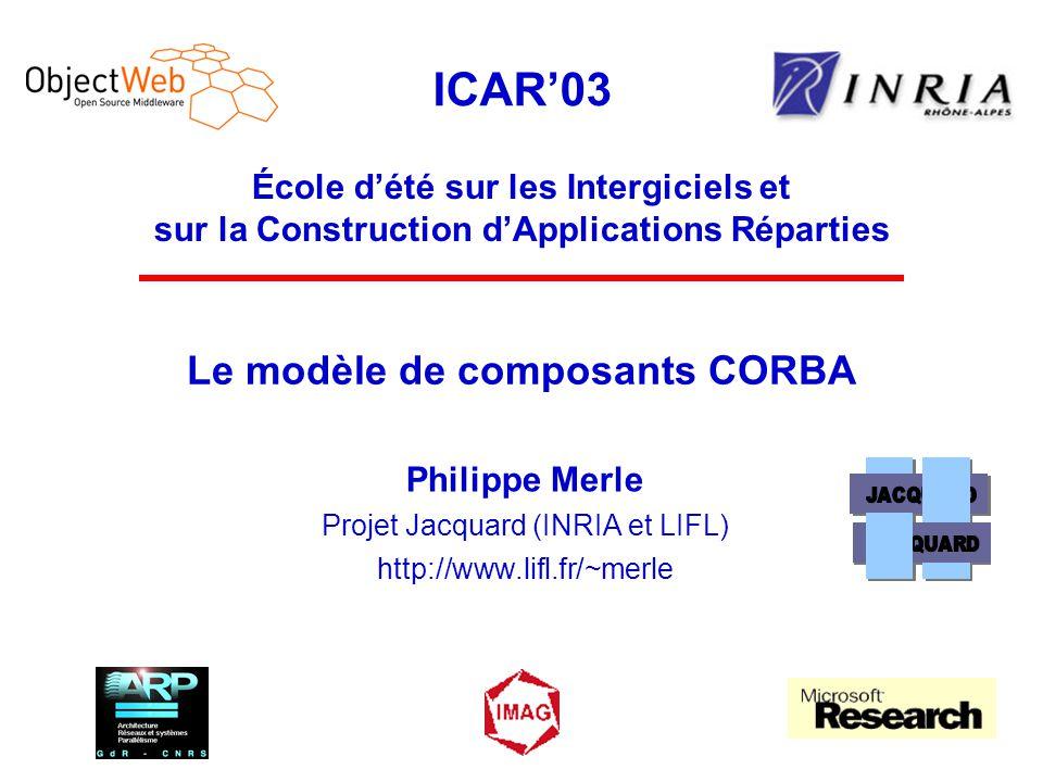 ICAR'03 École d'été sur les Intergiciels et sur la Construction d'Applications Réparties Le modèle de composants CORBA Philippe Merle Projet Jacquard (INRIA et LIFL) http://www.lifl.fr/~merle