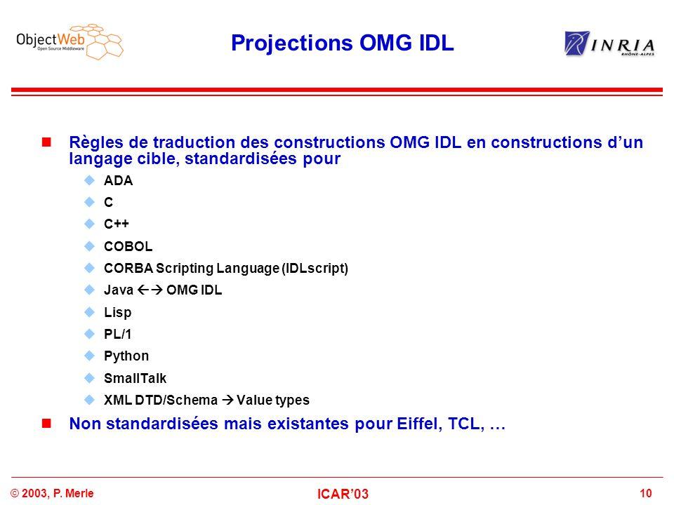 10© 2003, P. Merle ICAR'03 Projections OMG IDL Règles de traduction des constructions OMG IDL en constructions d'un langage cible, standardisées pour