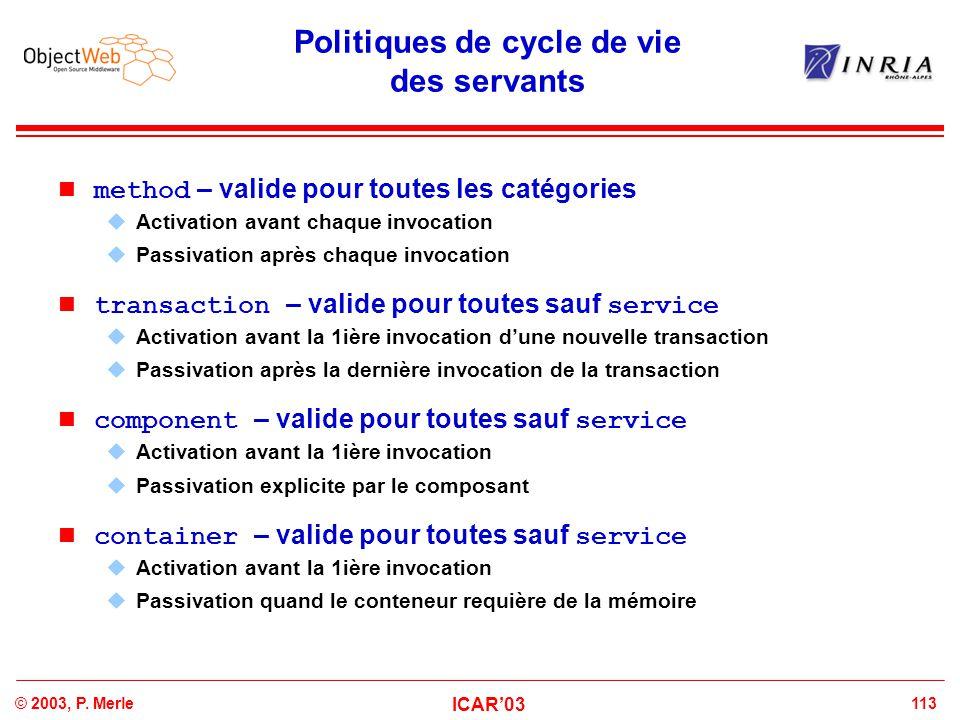 113© 2003, P. Merle ICAR'03 Politiques de cycle de vie des servants method – valide pour toutes les catégories  Activation avant chaque invocation 