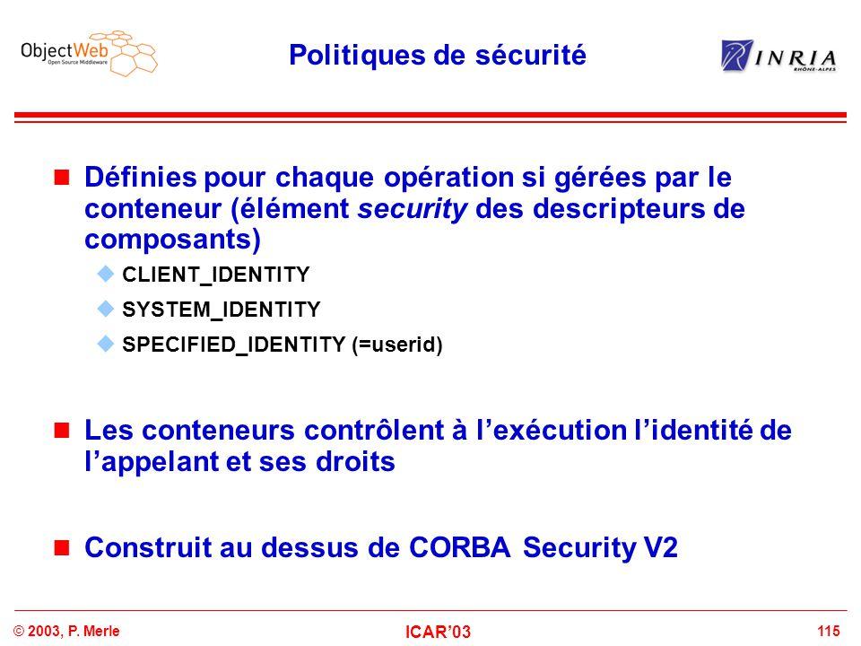 115© 2003, P. Merle ICAR'03 Politiques de sécurité Définies pour chaque opération si gérées par le conteneur (élément security des descripteurs de com