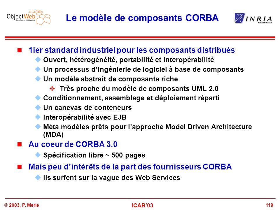 119© 2003, P. Merle ICAR'03 Le modèle de composants CORBA 1ier standard industriel pour les composants distribués  Ouvert, hétérogénéité, portabilité