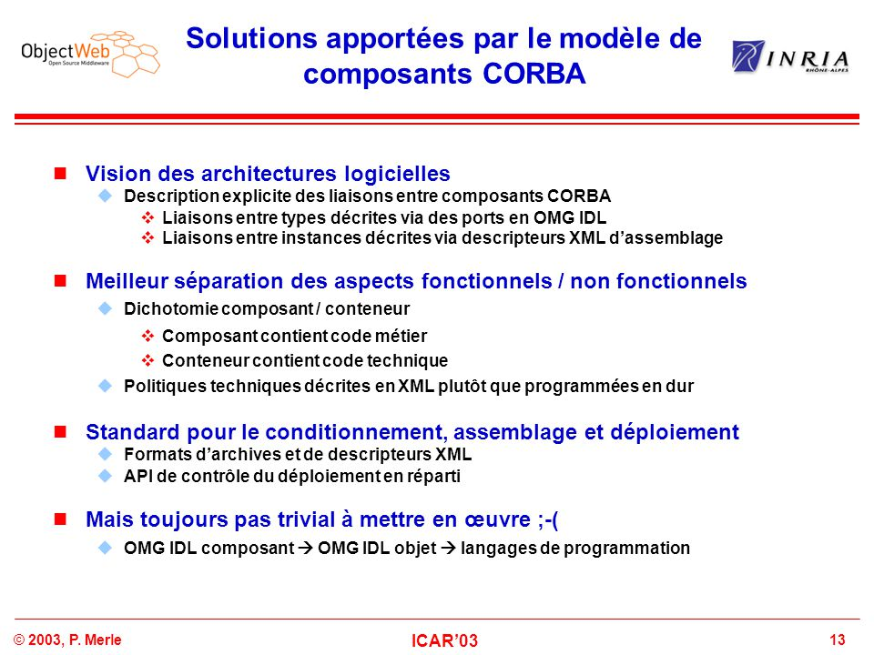 13© 2003, P. Merle ICAR'03 Solutions apportées par le modèle de composants CORBA Vision des architectures logicielles  Description explicite des liai