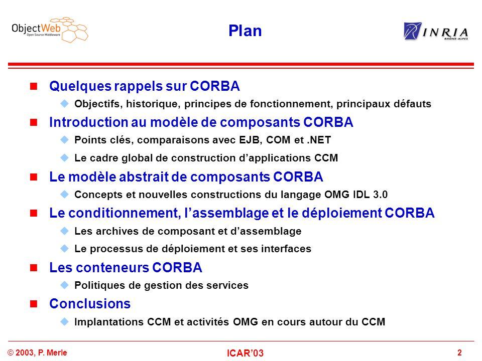 2© 2003, P. Merle ICAR'03 Plan Quelques rappels sur CORBA  Objectifs, historique, principes de fonctionnement, principaux défauts Introduction au mod
