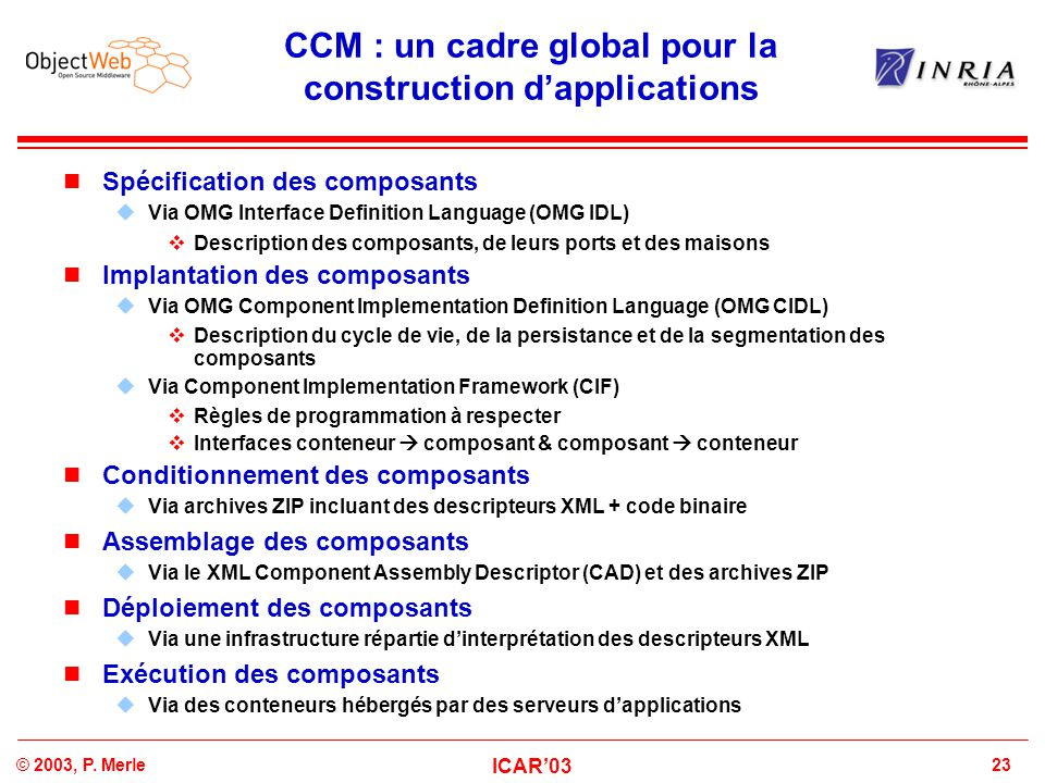 23© 2003, P. Merle ICAR'03 CCM : un cadre global pour la construction d'applications Spécification des composants  Via OMG Interface Definition Langu
