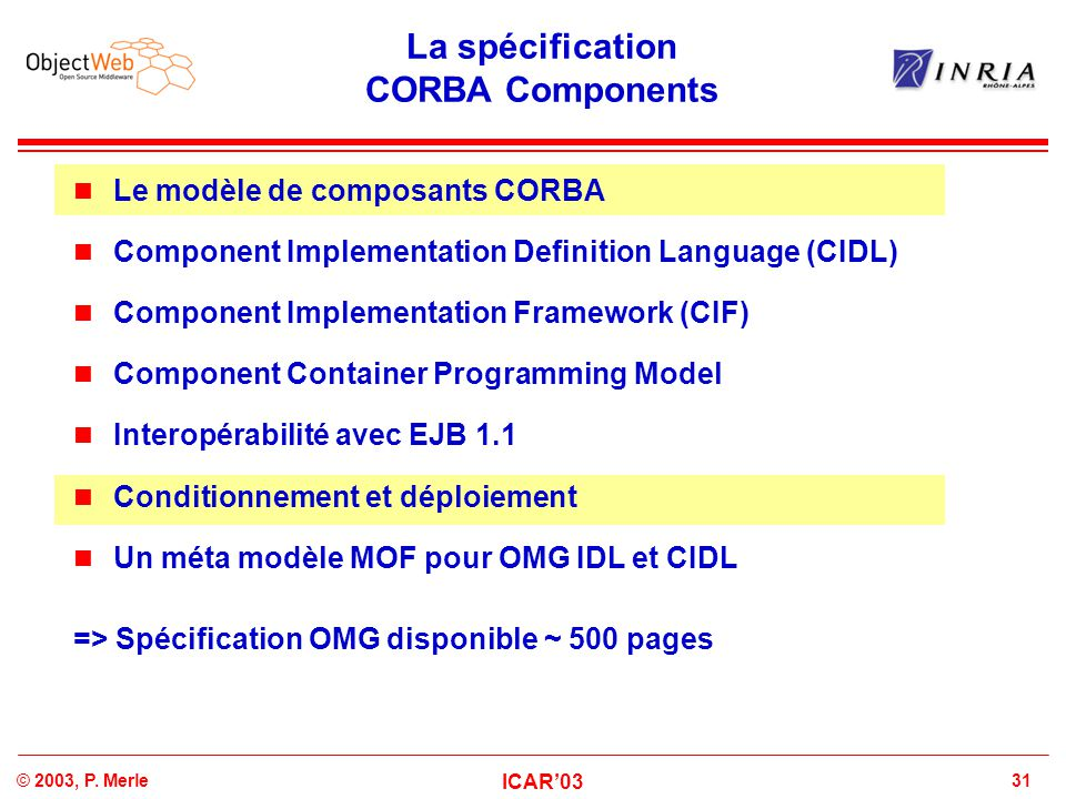 31© 2003, P. Merle ICAR'03 La spécification CORBA Components Le modèle de composants CORBA Component Implementation Definition Language (CIDL) Compone