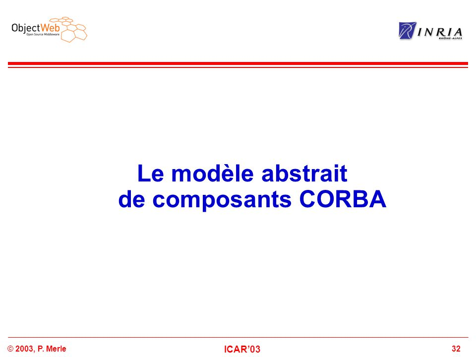 32© 2003, P. Merle ICAR'03 Le modèle abstrait de composants CORBA