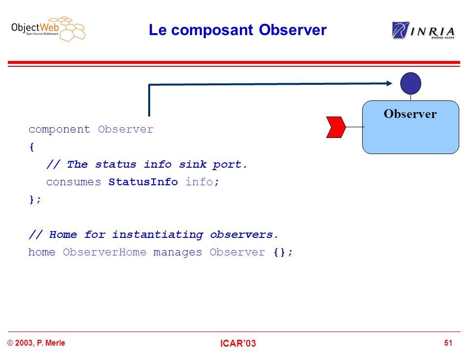51© 2003, P.Merle ICAR'03 Le composant Observer component Observer { // The status info sink port.