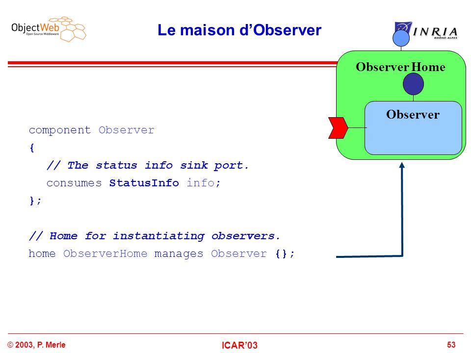 53© 2003, P. Merle ICAR'03 Observer Home Le maison d'Observer component Observer { // The status info sink port. consumes StatusInfo info; }; // Home