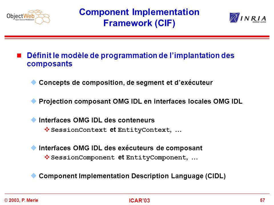 57© 2003, P. Merle ICAR'03 Component Implementation Framework (CIF) Définit le modèle de programmation de l'implantation des composants  Concepts de